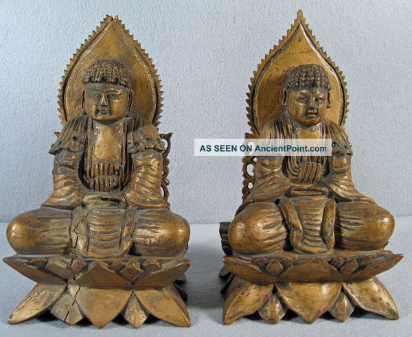 Pair Antique Chinese Carved Wood & Jeweled Buddha Buddha photo