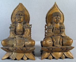 Pair Antique Chinese Carved Wood & Jeweled Buddha photo