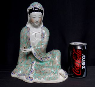 Chinese Famill Rose Porcelain Kwan Yin Buddha 10.  5