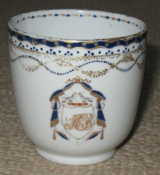 Antique Chinese Porcelain Armorial Cup Circa 1800 photo