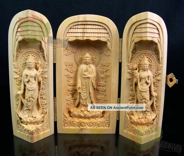 Chinese Wood Carved Boxwood Kwan - Yin Buddha Statue Sculpture Netsuke Amulet Art Buddha photo
