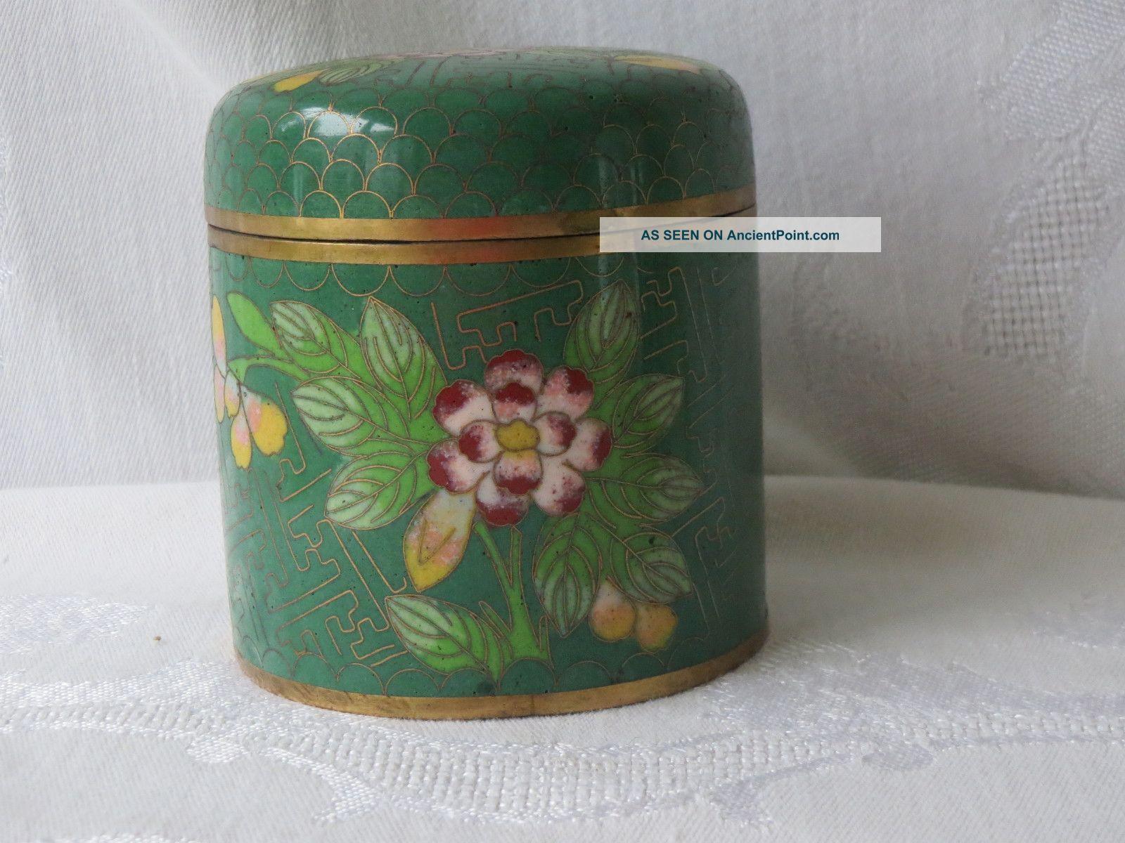 Antique Chinese Cloisonne Enamel Brass Design Flowers Box Boxes photo