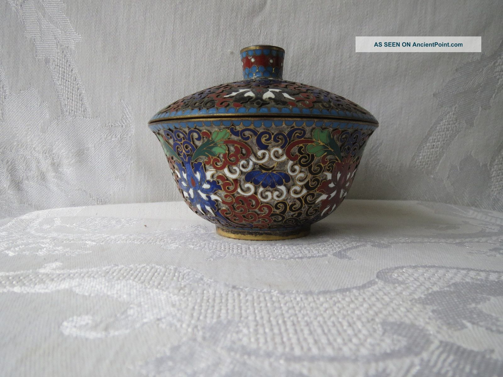 Antique Chinese Cloisonne Champleve Enamel Rare Open Work Ginger Jar Box Nr Boxes photo