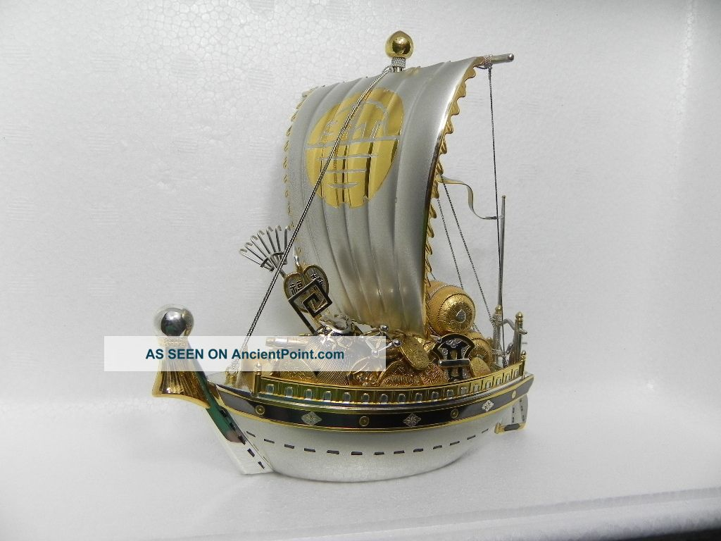 Large Hand Crafted Japanese Sterling Silver Enamel Treasure Ship 259 Gr 9.  1 Oz Asia photo