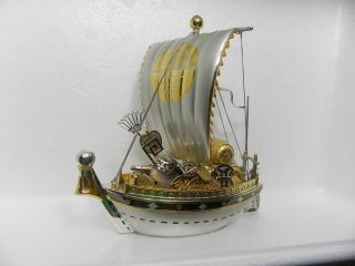 Large Hand Crafted Japanese Sterling Silver Enamel Treasure Ship 259 Gr 9.  1 Oz photo