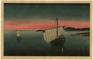 Eisen Japanese Woodblock Sailboats A Twilight 1930 photo