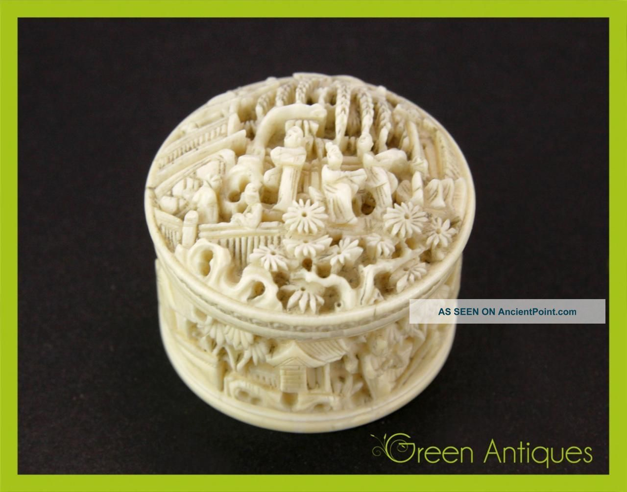 Antique 19thc Chinese Hand Carved Faux Ivory Pill Trinket Box Canton C 1880