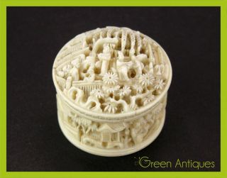 Antique 19thc Chinese Hand Carved Faux Ivory Pill / Trinket Box,  Canton C.  1880 photo