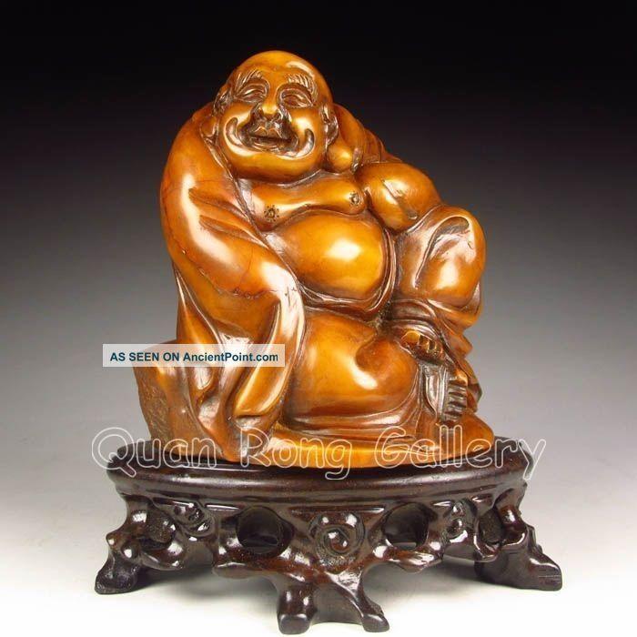 Chinese Shoushan Stone Statue - Laughing Buddha Nr Buddha photo