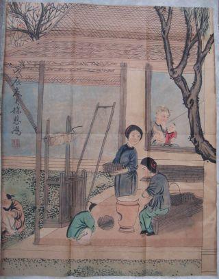 Chinese Hanging Painting Family Xu Beihong 0356 photo