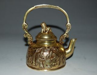 Chinese Brass Teapots&lid Description Elderly Game Of Chess Xuande Mark Nr photo