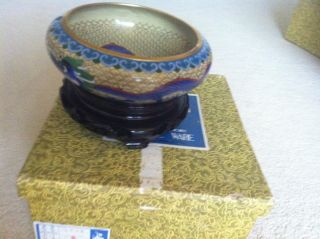 Chinese Cloisonne Cache Bowl Art High Quality - Many Colors photo