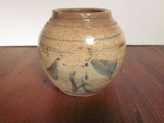 Vintage Chinese Stoneware Jar Small Under Glaze Blue Decoration photo