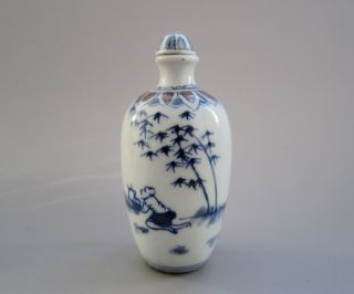 Old Chinese Blue And White Porcelain Snuff Bottle (hand Painting) 1 photo