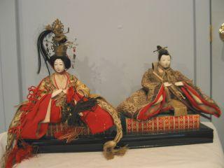 Antique Japanese Emperor And Empress Dolls photo