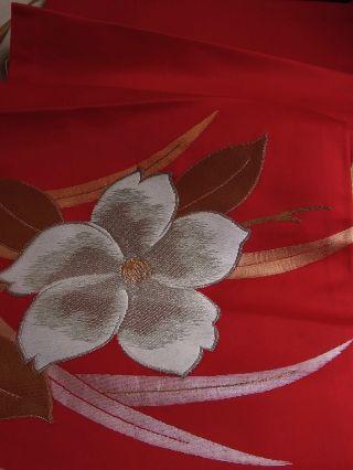 Japanese Kimono Fabric,  Quilt,  Patch,  Silk,  Obi Fabric,  Red photo