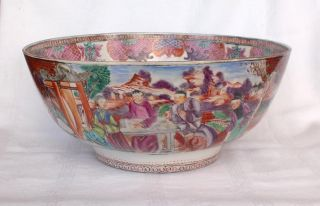 Large 18thc Chinese Punch Bowl Hand Painted With The Mandarin Pattern photo