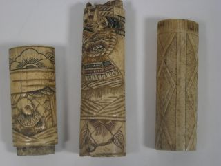 Antique Carved Ox Bone Samurai Handle 3 Pieces Japan