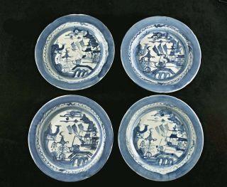 Four Mid 1800s Blue & White Canton Export Porcelain Plates photo