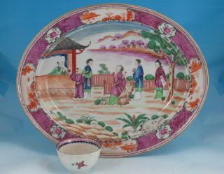 Antique 18thc Chinese Porcelain Mandarin Oval Platter C1780 14.  6in 37cm photo