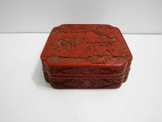 Vintage 1920 ' S (??) Cinnabar Chinese Lacquer Carved Covered Box Case Trinket 6.  5 photo