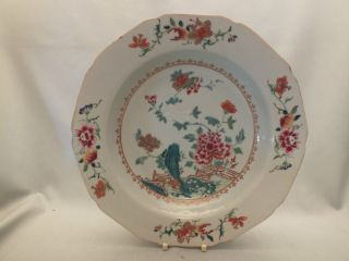 Chinese Porcelain Soup Plate With Flowers In Famille Rose Colour Decor 18thc photo