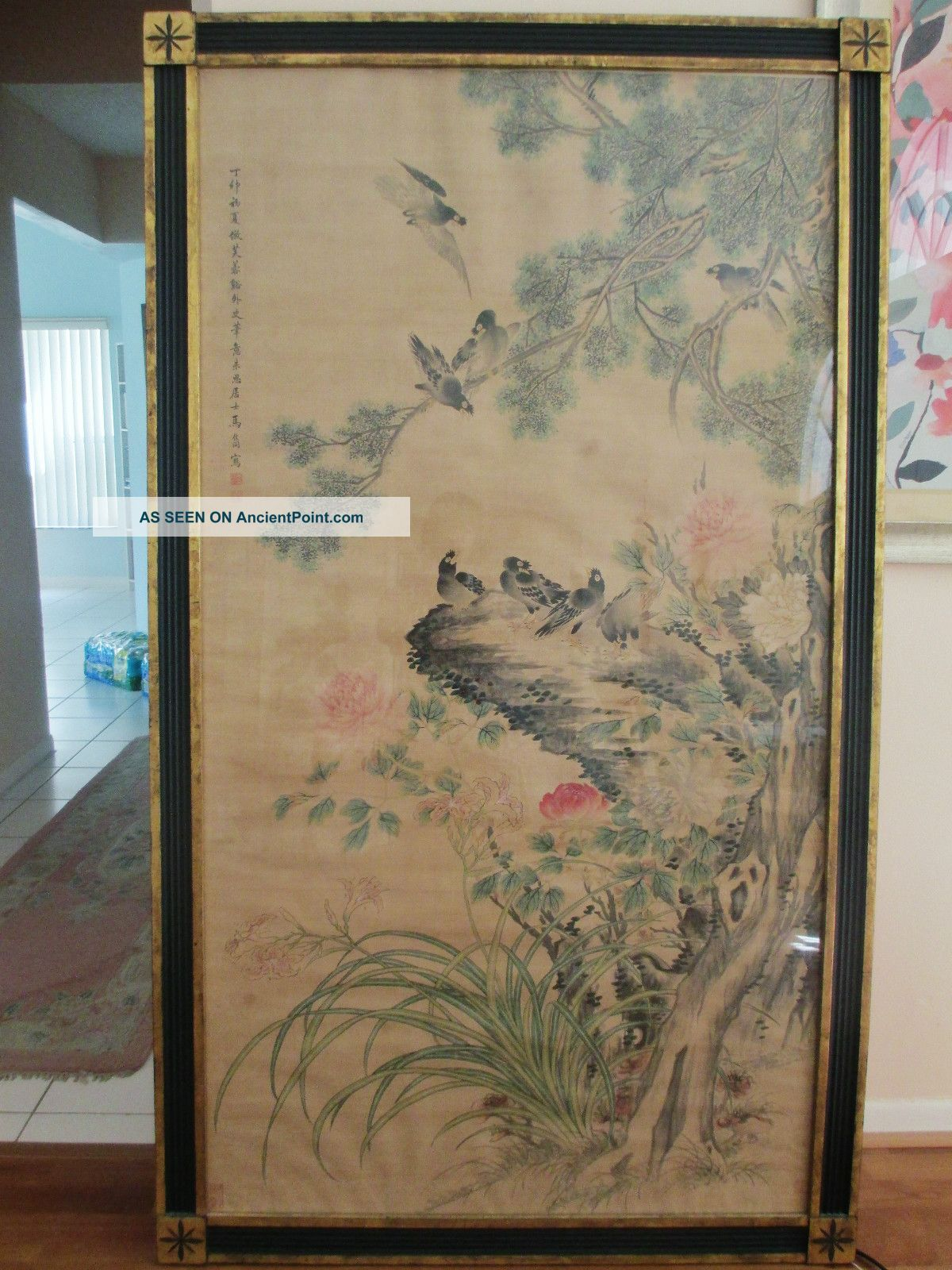 Large & Rare Chinese Antique Painting Signed By Ma Jia Tong ~ Birds & Flowers Paintings & Scrolls photo