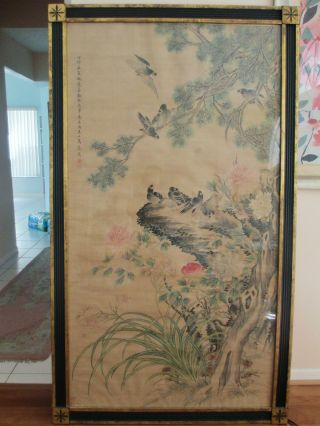 Large & Rare Chinese Antique Painting Signed By Ma Jia Tong ~ Birds & Flowers photo