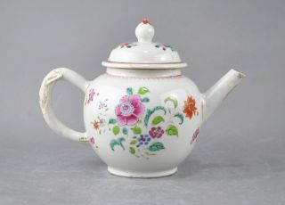 A Large/pretty Chinese 18c Famille Rose Floral Teapot/cover Qianlong photo
