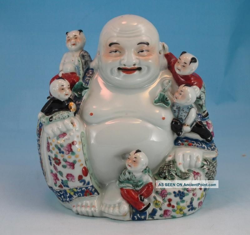 Fine Antique Chinese Porcelain Signed Figure Of Buddha & Children Buddha photo