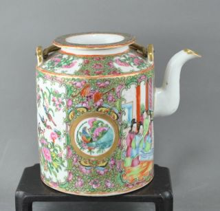 An Unusually Large Chinese 19c Rose Medallion Teapot photo