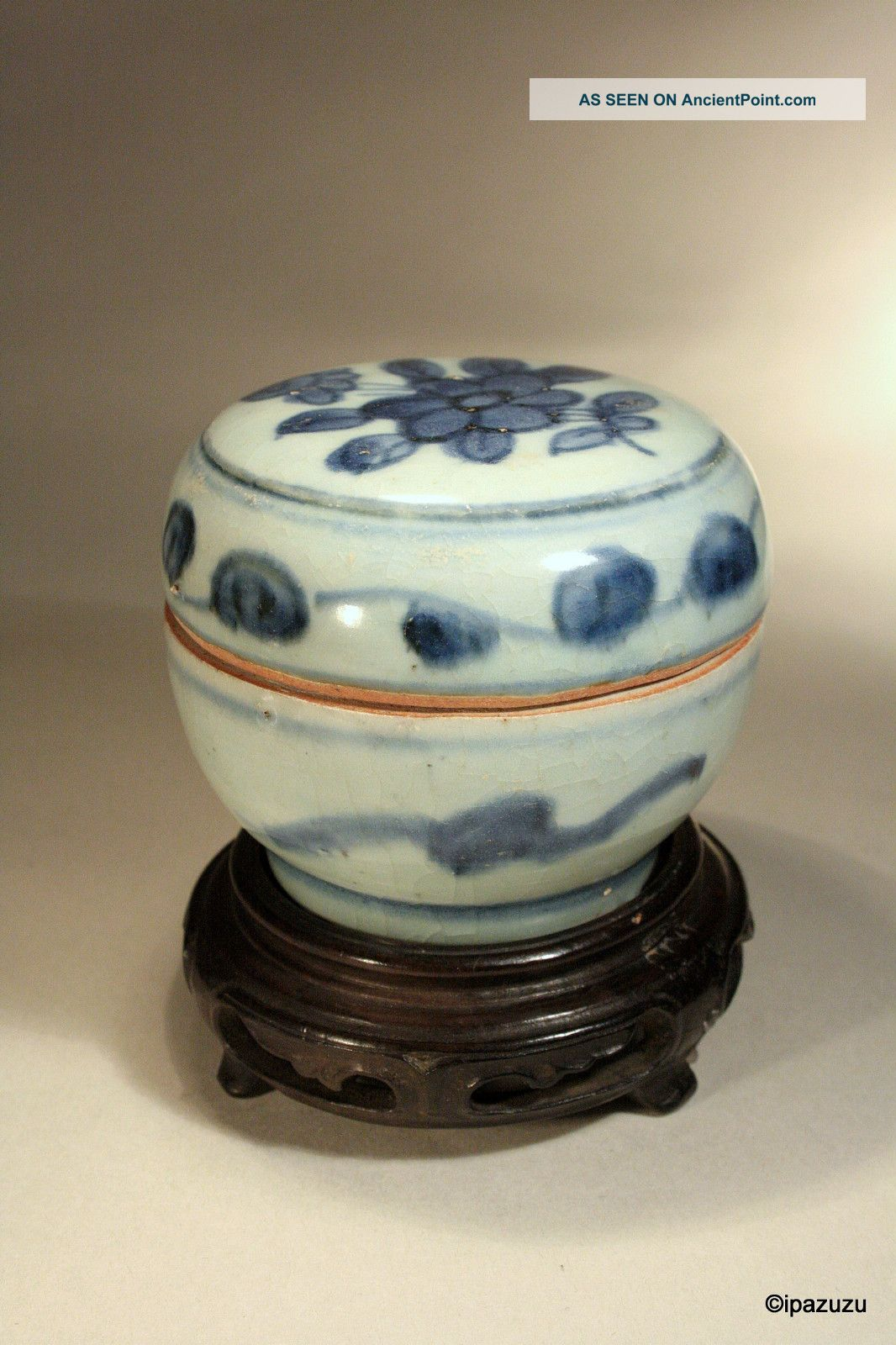 Antique Chinese Ming Dynasty Box & Cover Blue & White 1368 - 1644 Boxes photo