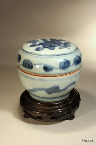 Antique Chinese Ming Dynasty Box & Cover Blue & White 1368 - 1644 photo