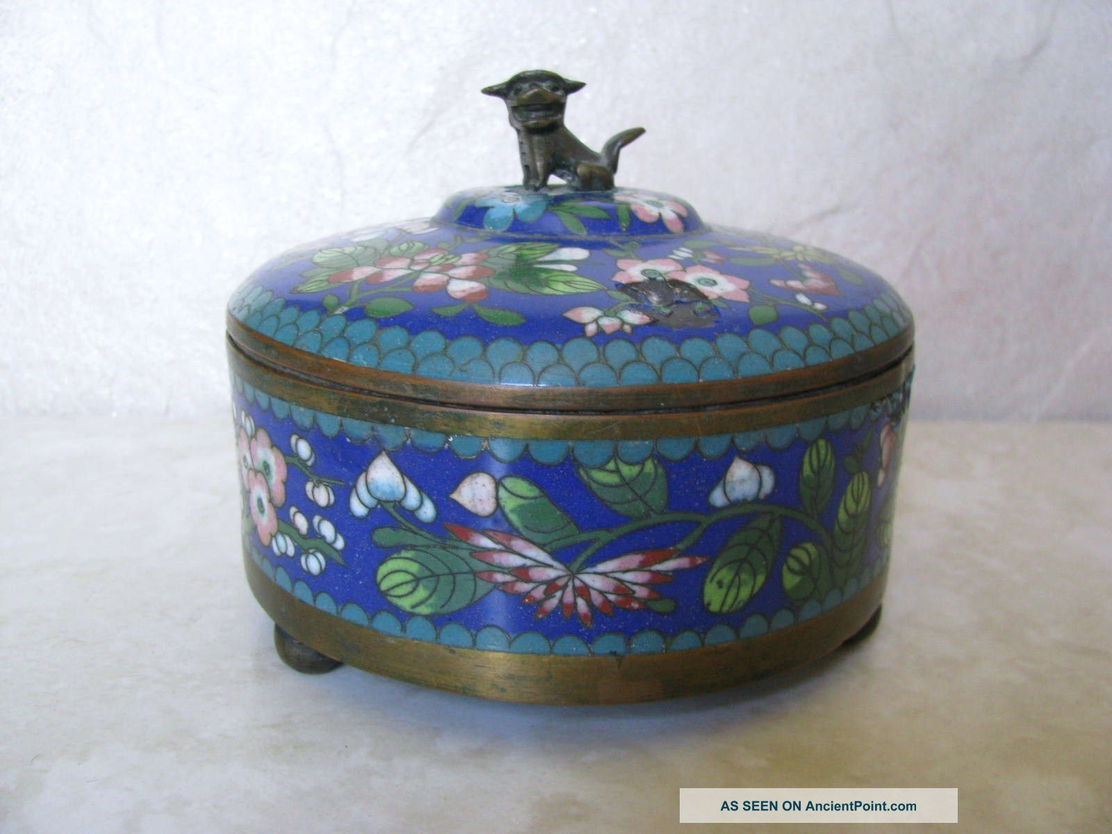 Antique Chinese Cloisonne Footed Round Box With Bronze Fu Dog Finial Decoration Boxes photo