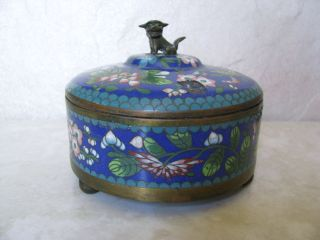 Antique Chinese Cloisonne Footed Round Box With Bronze Fu Dog Finial Decoration photo