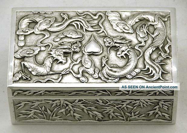 Chinese Export Silver Dragons Battling Scholars Box C1885 Wang Hing Boxes photo