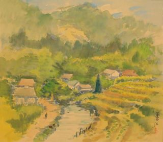 5937 Japanese Hanging Scroll: Countryside Landscape photo