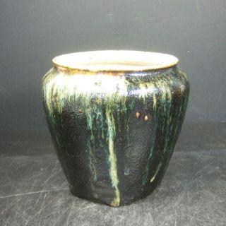 F085: Japanese Old Tanba Pottery Flower Vase With Good Glaze.  Wabi - Sabi photo