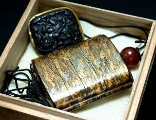 5574 Edo Samurai Antique Tokaido Gojusan Tsugi Zu Great Makie Inro & Netsuke photo