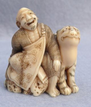 19th C Meiji Japanese Authentic Carved Netsuke - Man & Tiger photo