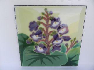 Finest Quality Large Japanese Floral Hand Painted Cloisonne Tile Plaque Japan Nr photo