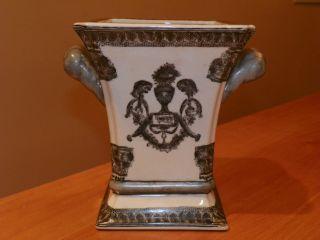 Chinese Export Rare Vase Grey & White 7.  75