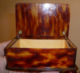 Faux Tortoiseshell Dresser Box With Satin Lining Circa 1920s No Chips Or Cracks photo