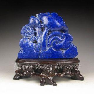 Chinese Lapis Lazuli Statue - Turtle & Lotus Nr photo