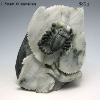 100% Natural Chinese Dushan Jade Hand - Carved Statue - - Scorpion Nr/nc1729 photo