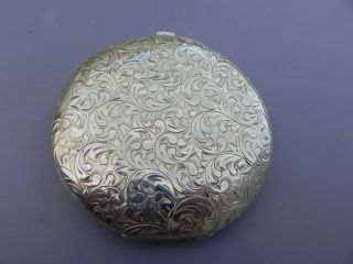 Stunning Engraved Japanese Sterling Silver 950 Vanity Compact Powder Box Case photo