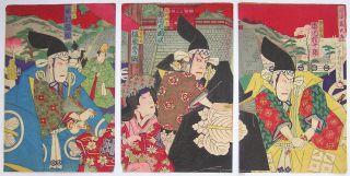 1889 Japanese Old Woodblock Print Triptych Of Chushingura Art By Kunisada photo