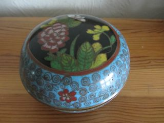 Antique 19th Century Chinese Cloisonne Box / Bowl & Cover Floral Decoration photo