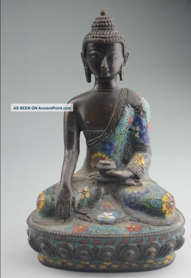 Antique Chinese Cloisonne Statue - Buddha Nr Buddha photo