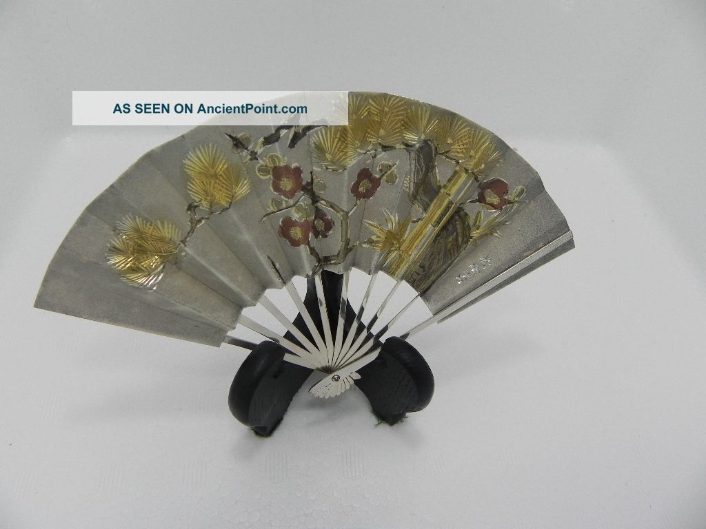 Exquisite Hand Engraved Signed Japanese Sterling Silver Ohgi Fan Japan Takehiko Miniatures photo